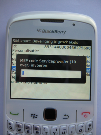 Blackberry unlock code invoeren