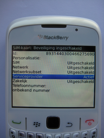 Blackberry simlocks