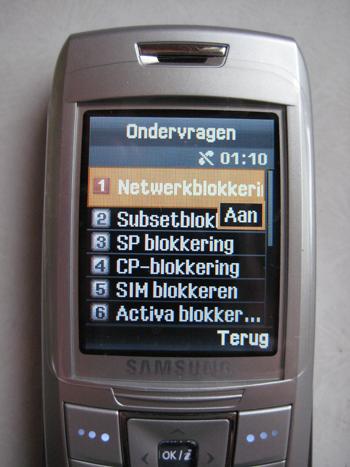 Samsung simlock menu